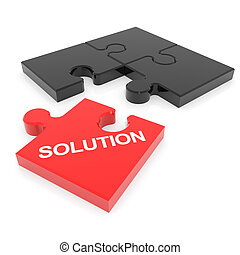 Disassembled solution puzzle. Computer generated image.