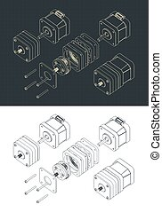 Stylized vector illustration of isometric drawings of a disassembled stepper motor with planetary gearbox