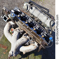 Disassembled the engine of an old car