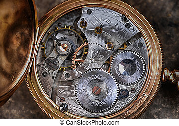 disassembled watch - disassembled wrist watch lies on table...