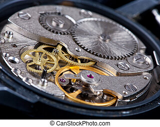 disassembled wristwatch - disassembled open old black...