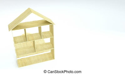 Disassembling of wooden doll house. Toy house details....
