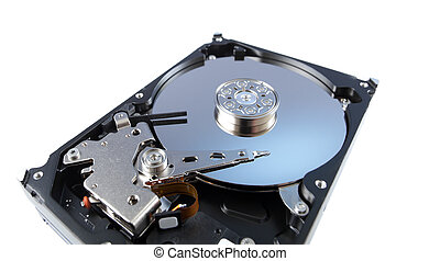 disassemled hard disc isolated on white. wide angle lens shot.