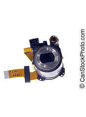 disassenbled small digital camera lens isolated