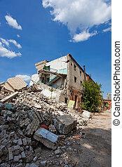 disaster., être, séisme, utilisé, naturel, démolition,...