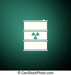 disaster., 平ら, 屑, 汚染, ごみ, 危険, 緑, keg., 隔離された, イラスト, バックグラウンド。, 放出, ベクトル, 生態学的, 有毒, アイコン, 樽, 無駄, 放射性, 環境, design.