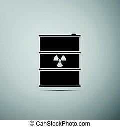 disaster., 平ら, 屑, 汚染, ごみ, 危険, keg., 放出, イラスト, 灰色, バックグラウンド。, 生態学的, ベクトル, 有毒, 放射性, 樽, 無駄, 環境, アイコン