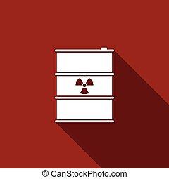 disaster., 平ら, 屑, 汚染, ごみ, 危険, keg., 放出, 長い間, 環境, 生態学的, ベクトル, イラスト, 有毒, 放射性, 樽, 無駄, shadow., アイコン