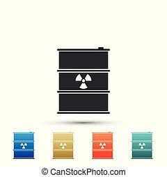 disaster., 平ら, 屑, 汚染, ごみ, 危険, keg., 隔離された, イラスト, 樽, バックグラウンド。, 放出, ベクトル, 生態学的, 有毒, アイコン, 白, 無駄, 放射性, 環境, design.
