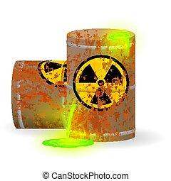 disaster., 放射性, illustration., 液体, 危険, keg., 錆ついた, 化学物質, 環境, 生態学的, ベクトル, 緑, 有毒, 蛍光, 無駄, barrel., 汚染