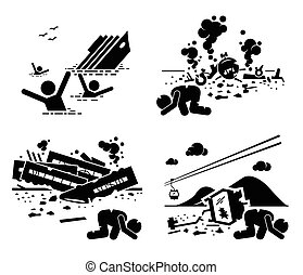 A set of human pictogram representing disaster, accident, and tragedy of a sinking ship, plane crash, train wreck, and a fallen cable car. Survival has been found and is waiting for rescue.