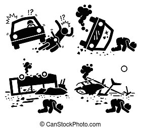 Disaster Accident Tragedy - A set of human pictogram...