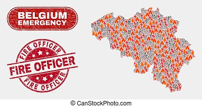 Disaster and Emergency Collage of Belgium Map and Scratched Fire Officer Stamp