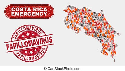 Disaster and Emergency Collage of Costa Rica Map and Distress Papillomavirus Watermark