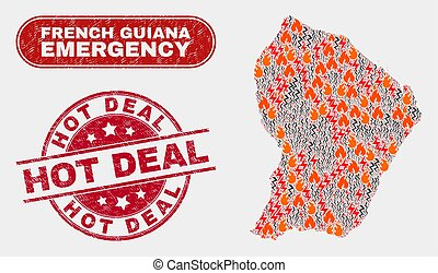 Disaster and Emergency Collage of French Guiana Map and Grunge Hot Deal Stamp Seal