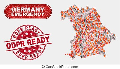 Disaster and Emergency Collage of Germany Map and Distress ...