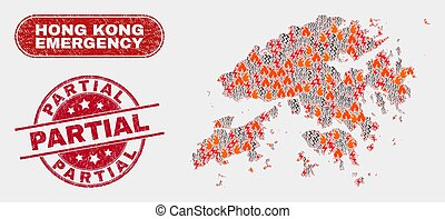 Disaster and Emergency Collage of Hong Kong Map and Scratched Partial Stamp Seal