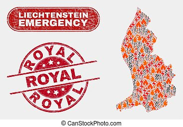 Disaster and Emergency Collage of Liechtenstein Map and Scratched Royal Watermark
