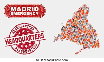 Disaster and Emergency Collage of Madrid Province Map and ...