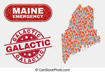 Disaster and Emergency Collage of Maine State Map and ...
