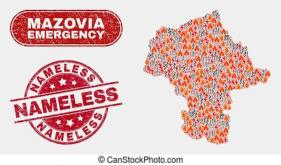 Vector collage of wildfire Mazovia Province map and red rounded grunge Nameless seal stamp. Emergency Mazovia Province map mosaic of fire, energy flash symbols.