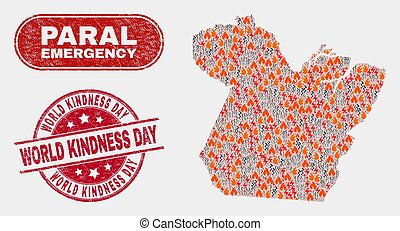 Disaster and Emergency Collage of Paral State Map and Distress World Kindness Day Stamp