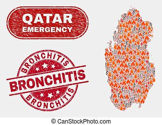 Disaster and Emergency Collage of Qatar Map and Distress Bronchitis Seal