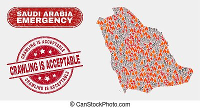 Disaster and Emergency Collage of Saudi Arabia Map and Distress Crawling Is Acceptable Stamp Seal