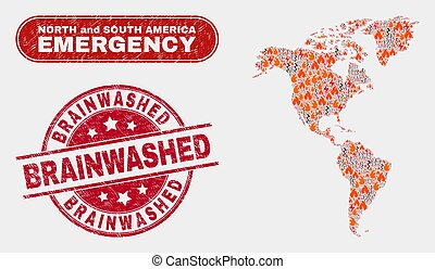 Disaster and Emergency Collage of South and North America Map and Scratched Brainwashed Watermark