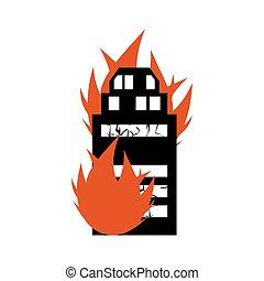 disaster., brennen, feuerflammen, brandstiftung, feuer,...