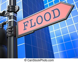 Disaster Concept. Flooding Ahead Roadsign.