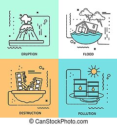 Disaster Damage Colored Icon Set