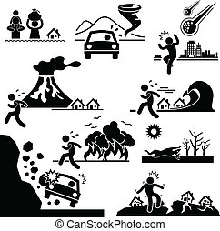 A set of pictogram representing disaster around the world.