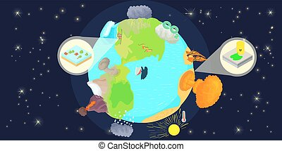 Disaster globe horizontal banner, cartoon style