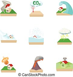 Disaster icons set, cartoon style