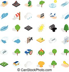Disaster icons set, isometric style - Disaster icons set....