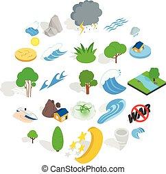 Disaster icons set, isometric style - Disaster icons set....