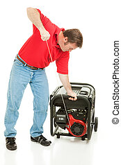 Disaster Preparedness - Starting Generator - Man pulling the...