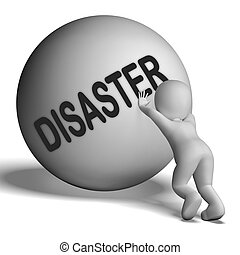 Disaster Uphill Character Shows Crisis Trouble Or Calamity -...