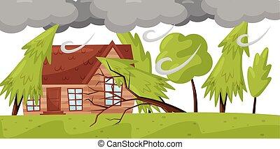 disaster., vida, natural, inmenso, casa, se estropea, theme...