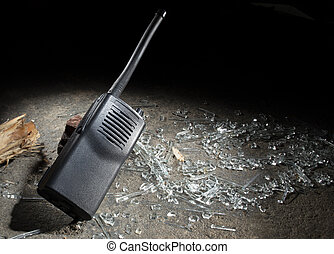 Disaster walkie talkie with broken glass and room for text