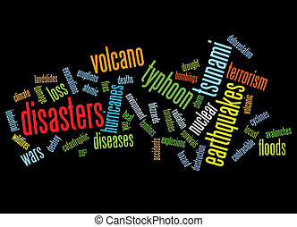 disasters background as words clouds.