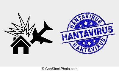 disastro, afflizione, francobollo, hantavirus, vettore, aeroplano, icona