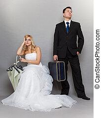 discórdia, par, casado, problema, indiferença, depressão