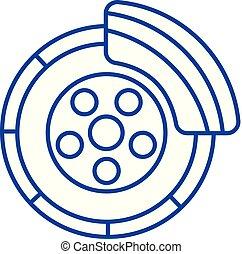 Disc brake, car service line icon concept. Disc brake, car ...