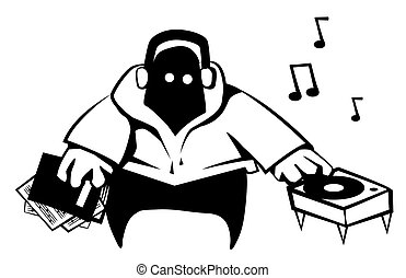 Disc Jockey Cartoon Stencil