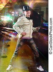 Disc Jockey - Disc jockey dancing with microphone and ...