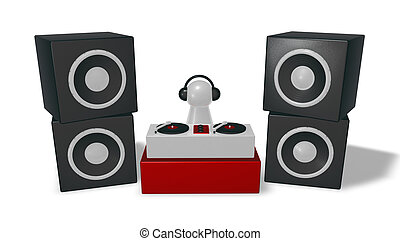 disc jockey on turntables - 3d illustration