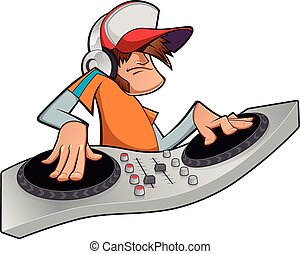 Disc jockey - vector color illustration disc jockey