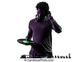 disc jockey man silhouette - one disc jockey man in ...